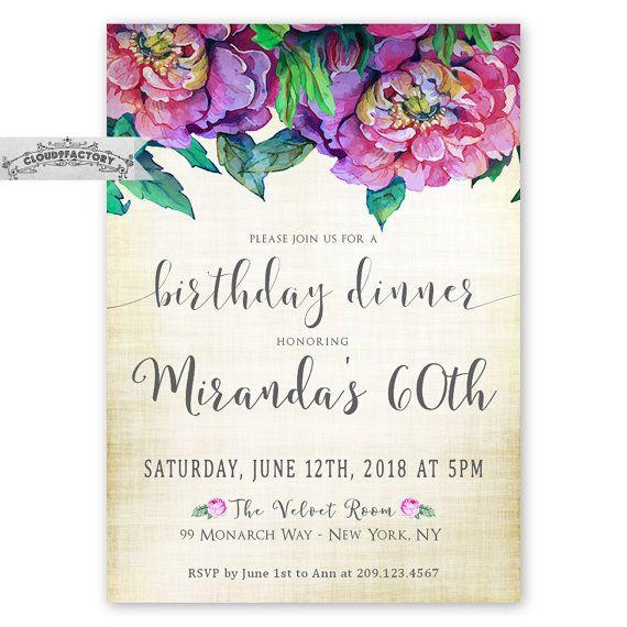 Adult birthday dinner invitations 60th birthday or any age 80th adult birthday dinner invitations 60th birthday or any age filmwisefo