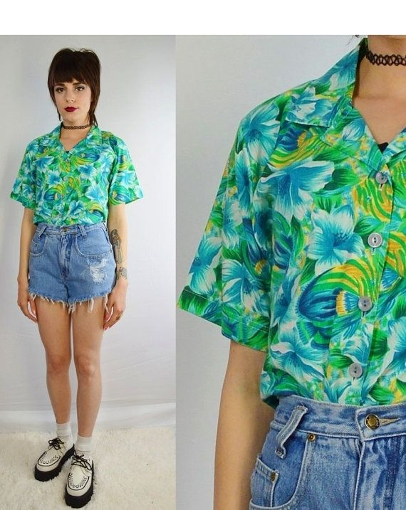 a797d051 90s Hawaiian Shirt Tropical Floral Soft Grunge Sea Punk Hipster Vintage  Women's Clothing Size small medium Blue Green Yellow