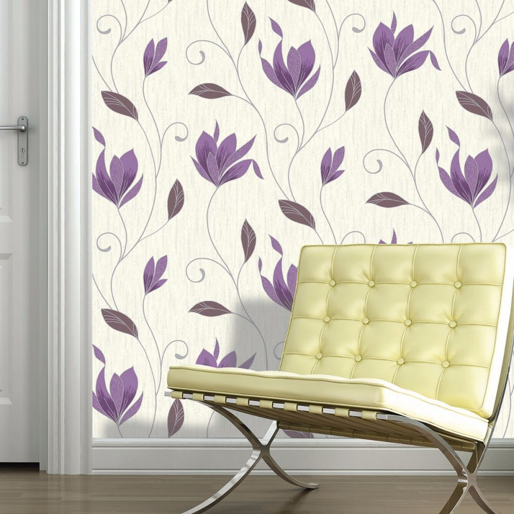 Glitter Flower Wallpaper Sparkly Embossed Dove Grey Silver White Synergy Vymura