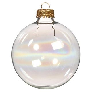 Blank Glass Ornament Round Iridescent With Silver Cap 60mm Clear Glass Ornaments Glass Ball Ornaments Christmas Decorations Ornaments