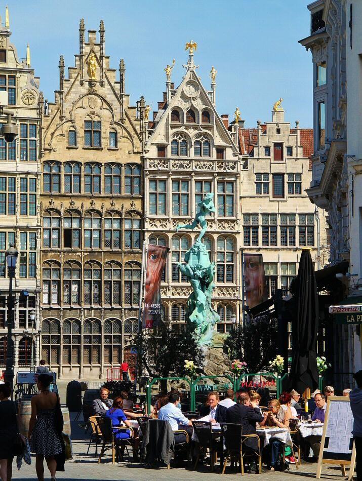 Terraza En La Plaza Mayor De Amberes En Bélgica Bruselas Viaje A Europa Amberes