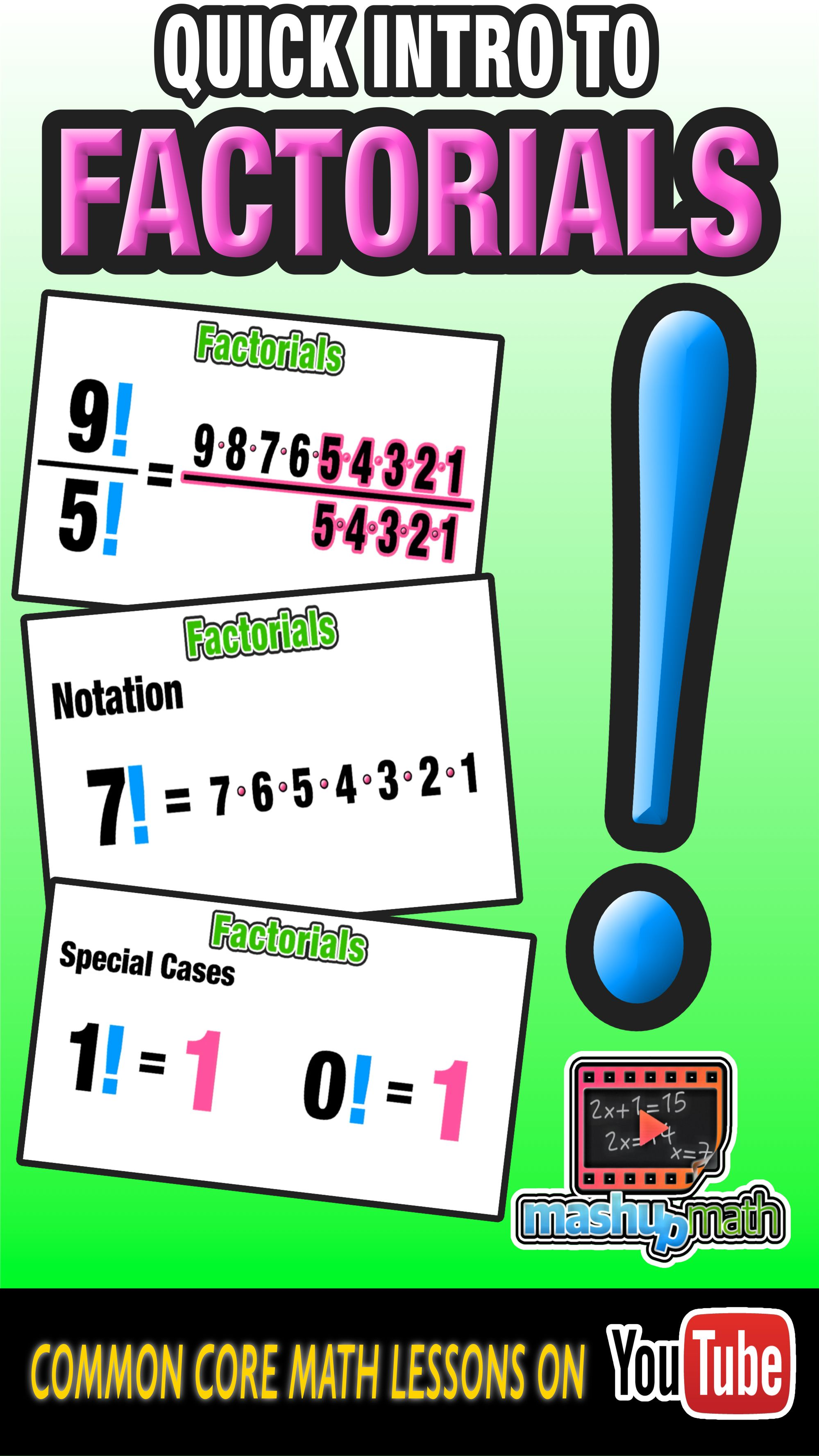 Are You New To Factorials Check Out This Animated Introduction To Everyone S Favorite Probability To Math Videos Common Core Math Lessons Free Math Worksheets