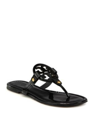ce859f871931 TORY BURCH Miller Patent Leather Logo Thong Sandals.  toryburch  shoes   sandals