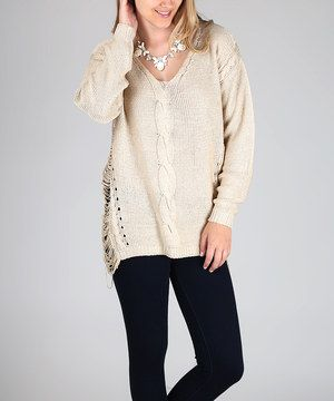 Look at this #zulilyfind! Pinkblush Beige Open-Knitted Side V-Neck Sweater by Pinkblush #zulilyfinds