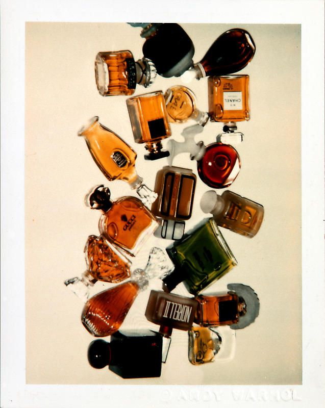 Perfume Bottles (Halston Campaign) (1979) Polaroid Photography by Andy Warhol, via Paul Kasmin Gallery