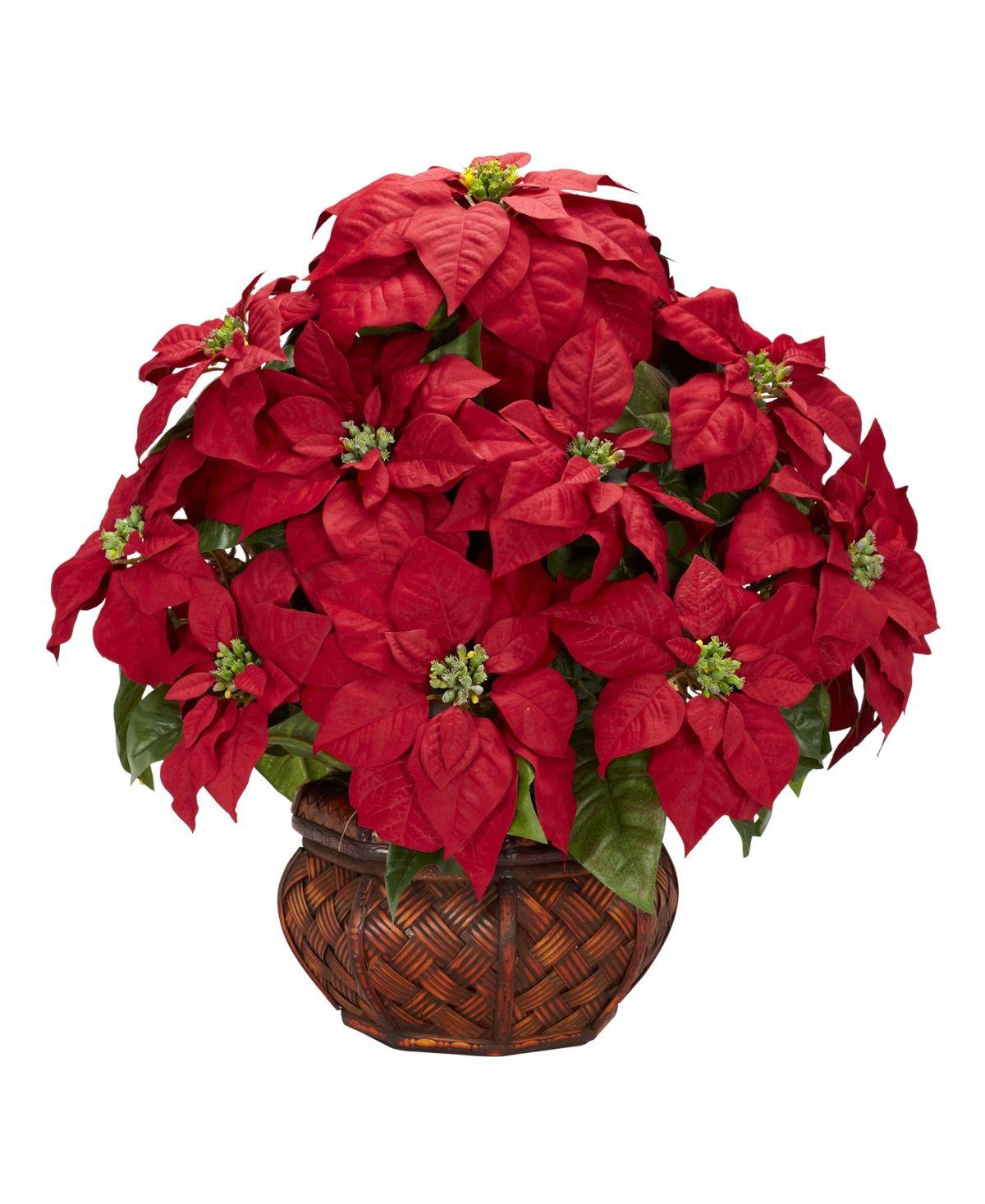 Nearly Natural Poinsettia w/Decorative Planter Silk