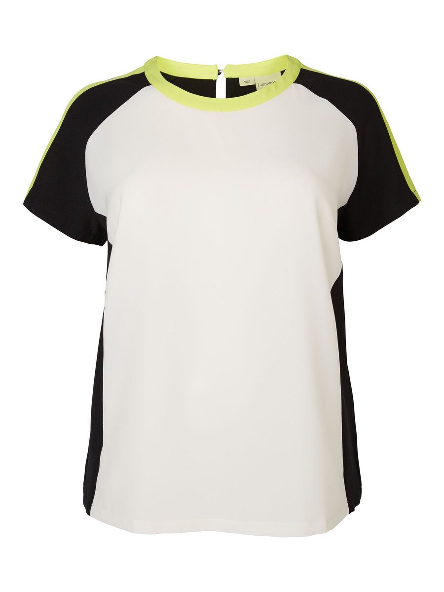 Add a splash of yellow to your sports luxe look. Plus size t-shirt from JUNAROSE