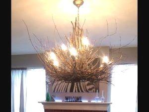 Twig Chandelier – DIY Rustic Light Fixture Project images