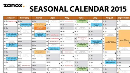 Zanox Seasonal Calendar   Marketing Calendar