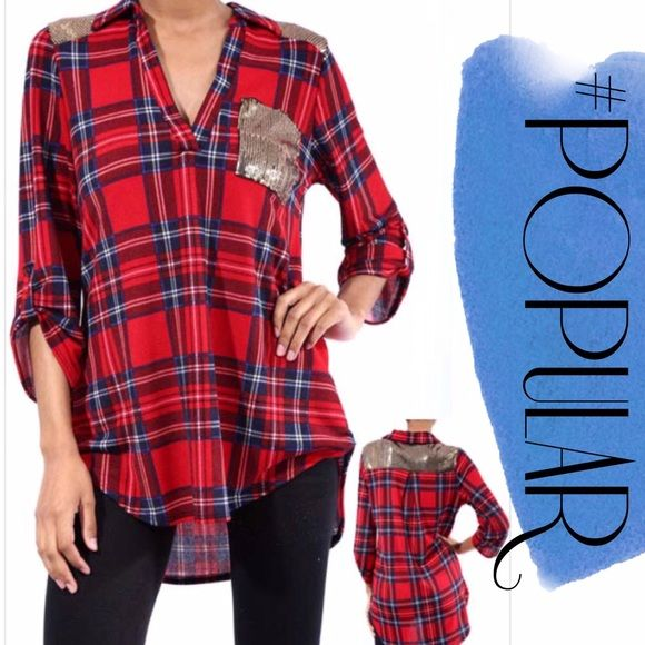 FAUX FLANNEL PLAID PULLOVER TOP Here you go! A plaid top