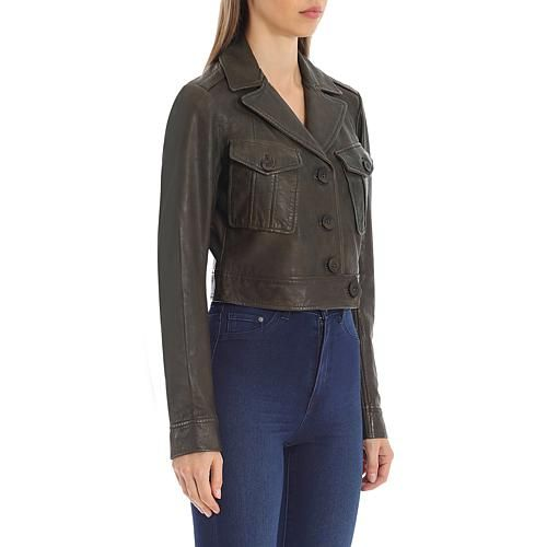 Avec Les Filles Cropped Lamb Leather Trucker Jacket Supple leather elevates this classic cropped trucker jacket by Avec Les Filles. Features patch pockets, button closure, and a fully-lined interior.