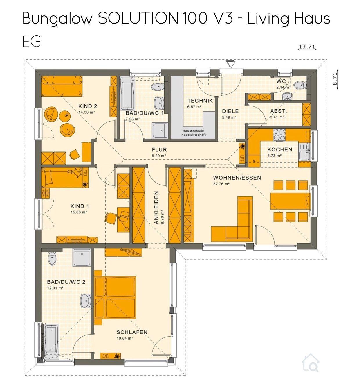 Winkelbungalow Haus Grundriss mit Walmdach Architektur 4
