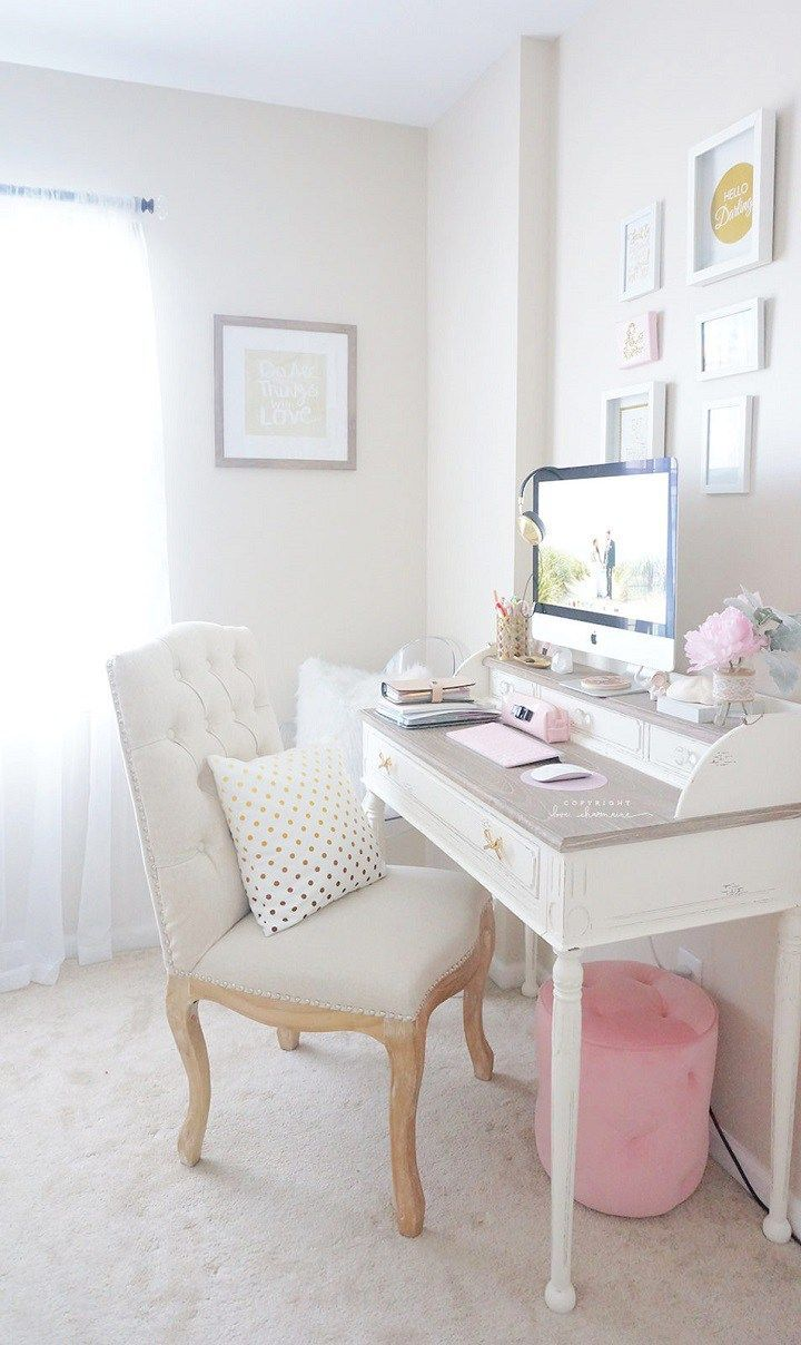 Feminine Home Office A Comfy Chair And Pretty Desk 10 Things You Must Have In Your Creative Craft E