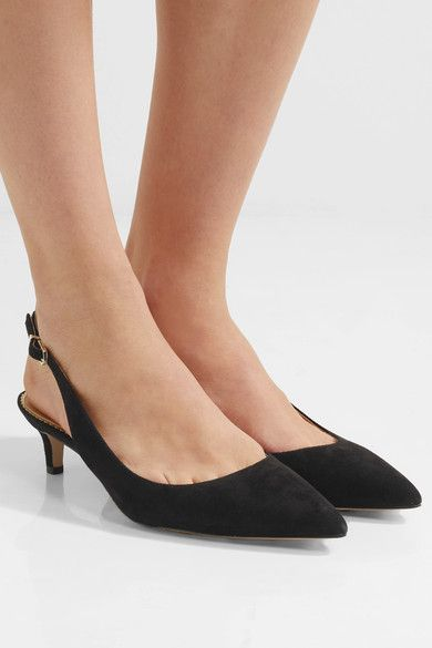 9d6fe892a03d Heel measures approximately 35mm  1.5 inches Black suede Buckle-fastening  slingback strap Imported