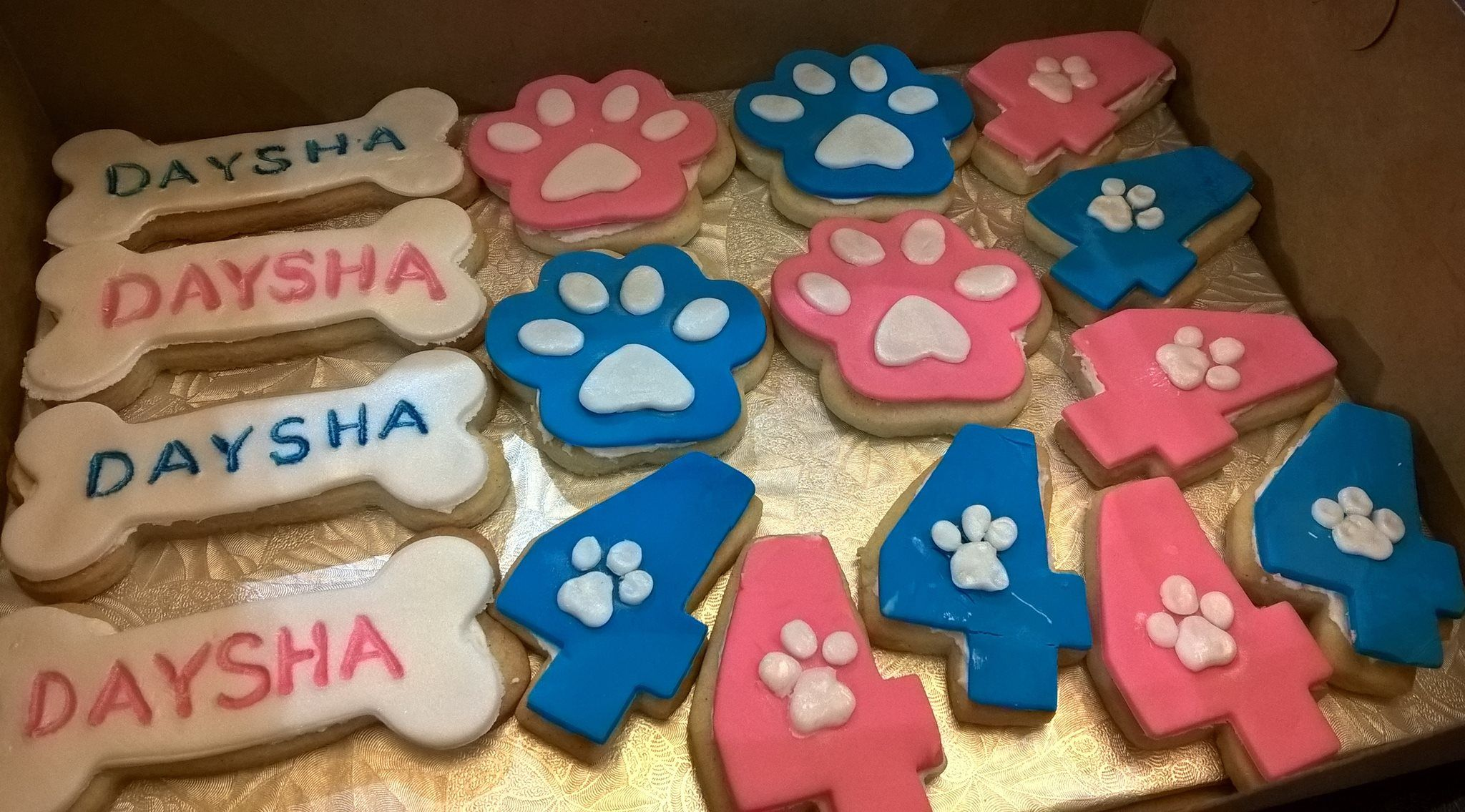 Paw Patrol Girl's Sugar Cookies with fondant, butter cream and airbrushed with white pearl