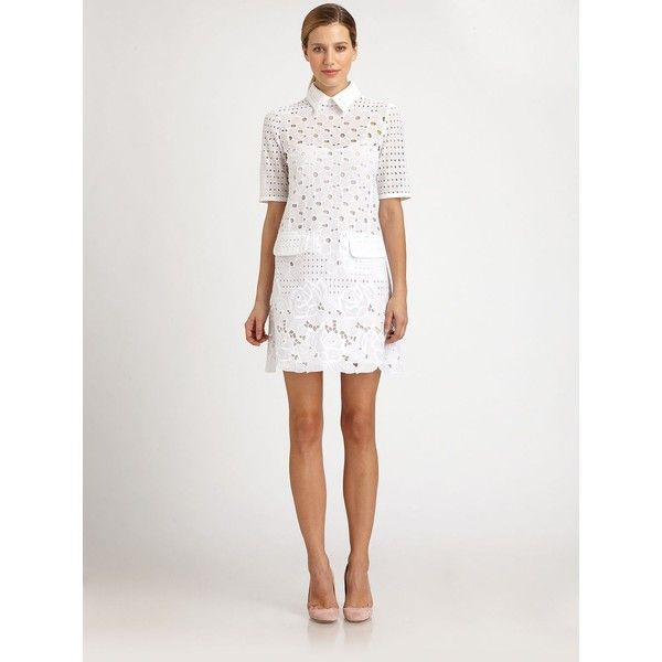Moschino Collared white Eyelet Lace Dress ($1,495) ❤ liked on Polyvore