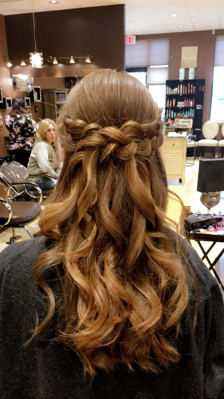 French braid crown half up half down prom hair style prom