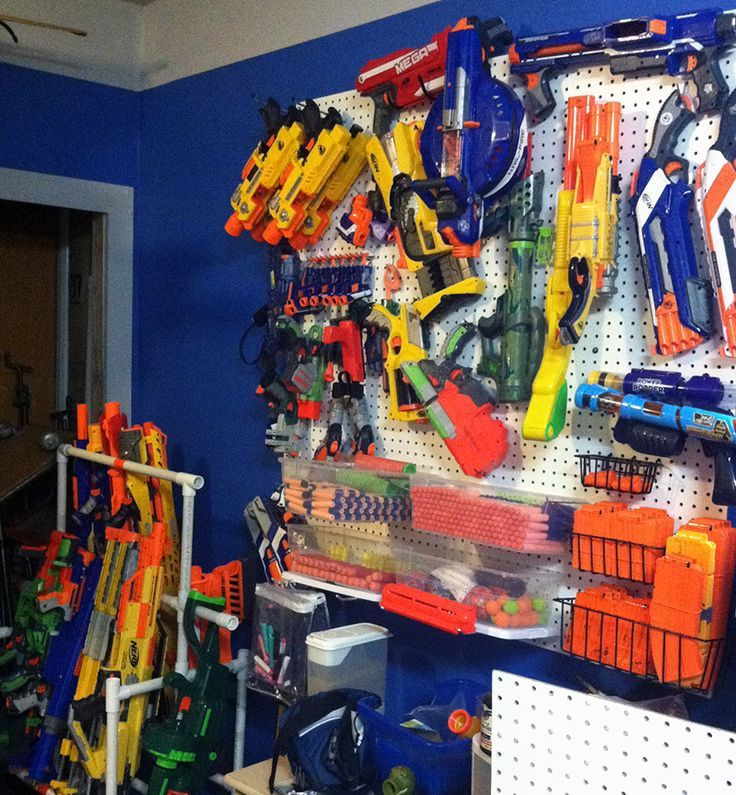 Nerf Gun storage - notice the lean-to style rack in the bottom left corner
