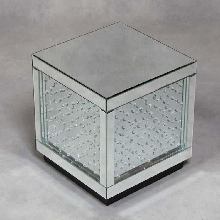 Mirrored glass cube with crystal detailing fantastic for Glass cube coffee table