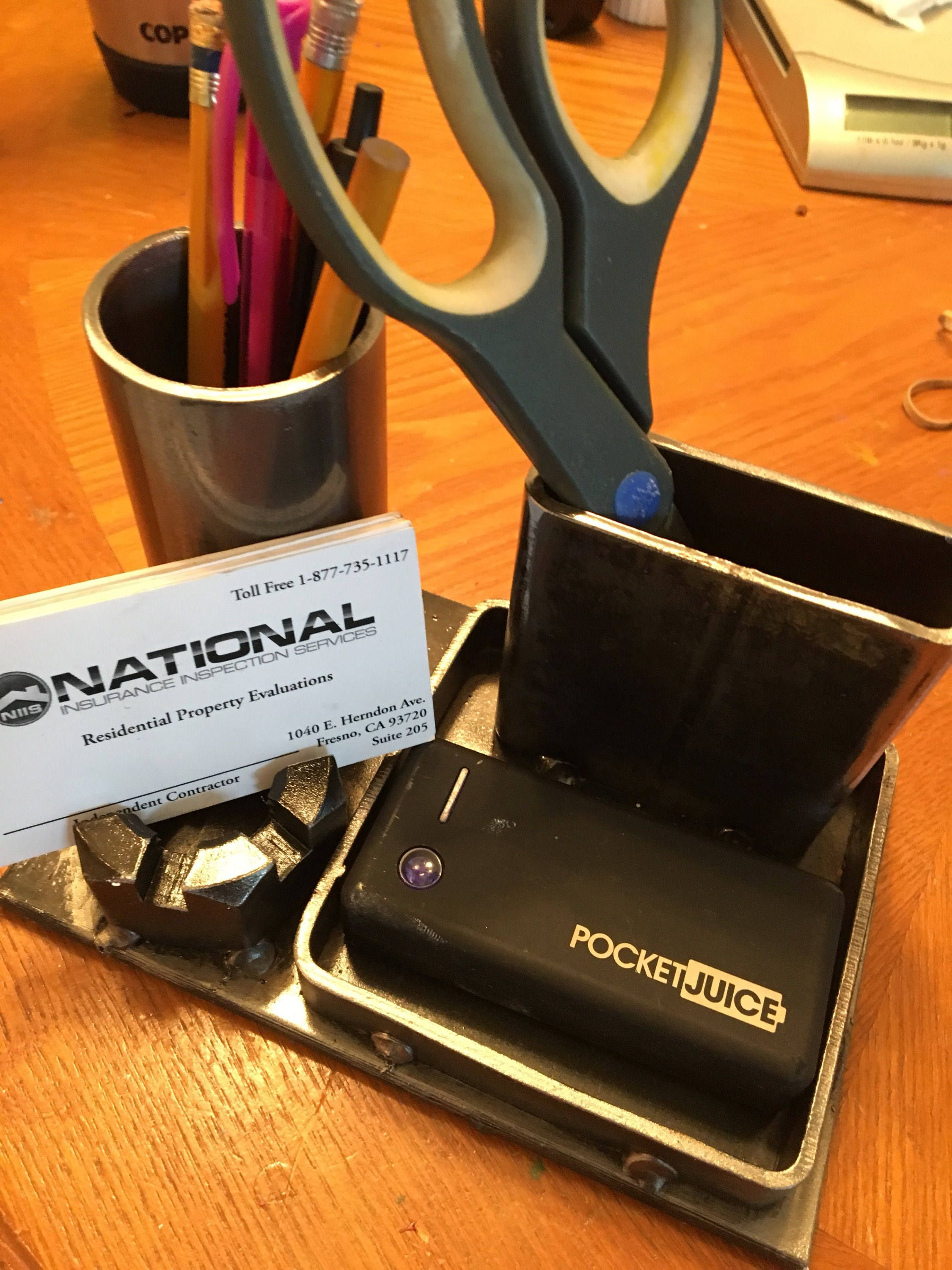 Industrial Desk Organizer with Business Card Holder Signed by Artist ...
