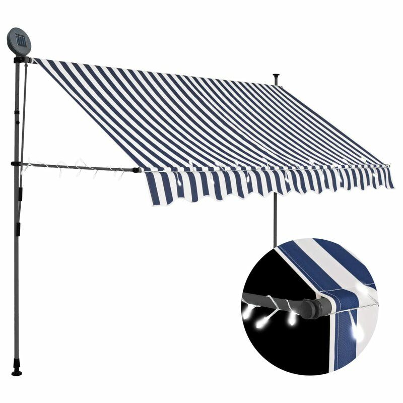Polyester Retractable Standard Patio Awning In 2020 Retractable Awning Solar Powered Led Lights Patio Awning