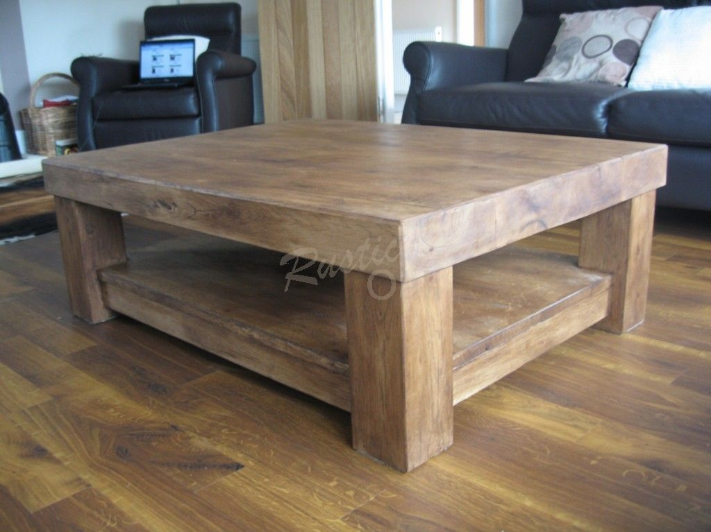 Amazing Chunky Wood Coffee Table Part - 5: Chunky 4-Leg Coffee Table With Shelf - Rustic Oak Furniture