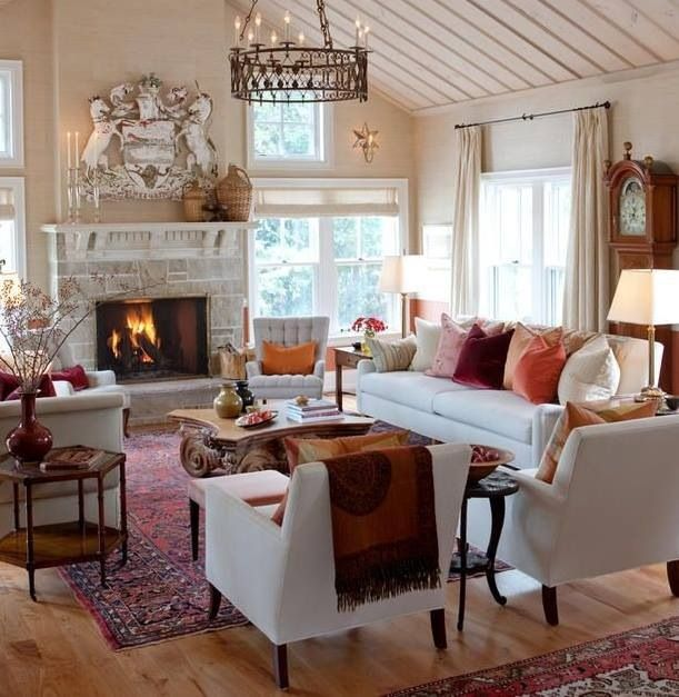 I like the neutral tones jn the walls and furniture with color ...