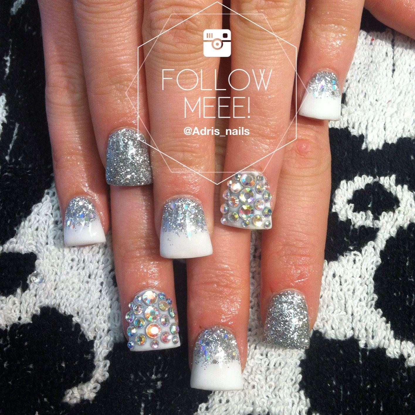 Flared acrylic nails with swarovski | NAILS. | Pinterest | Flare ...
