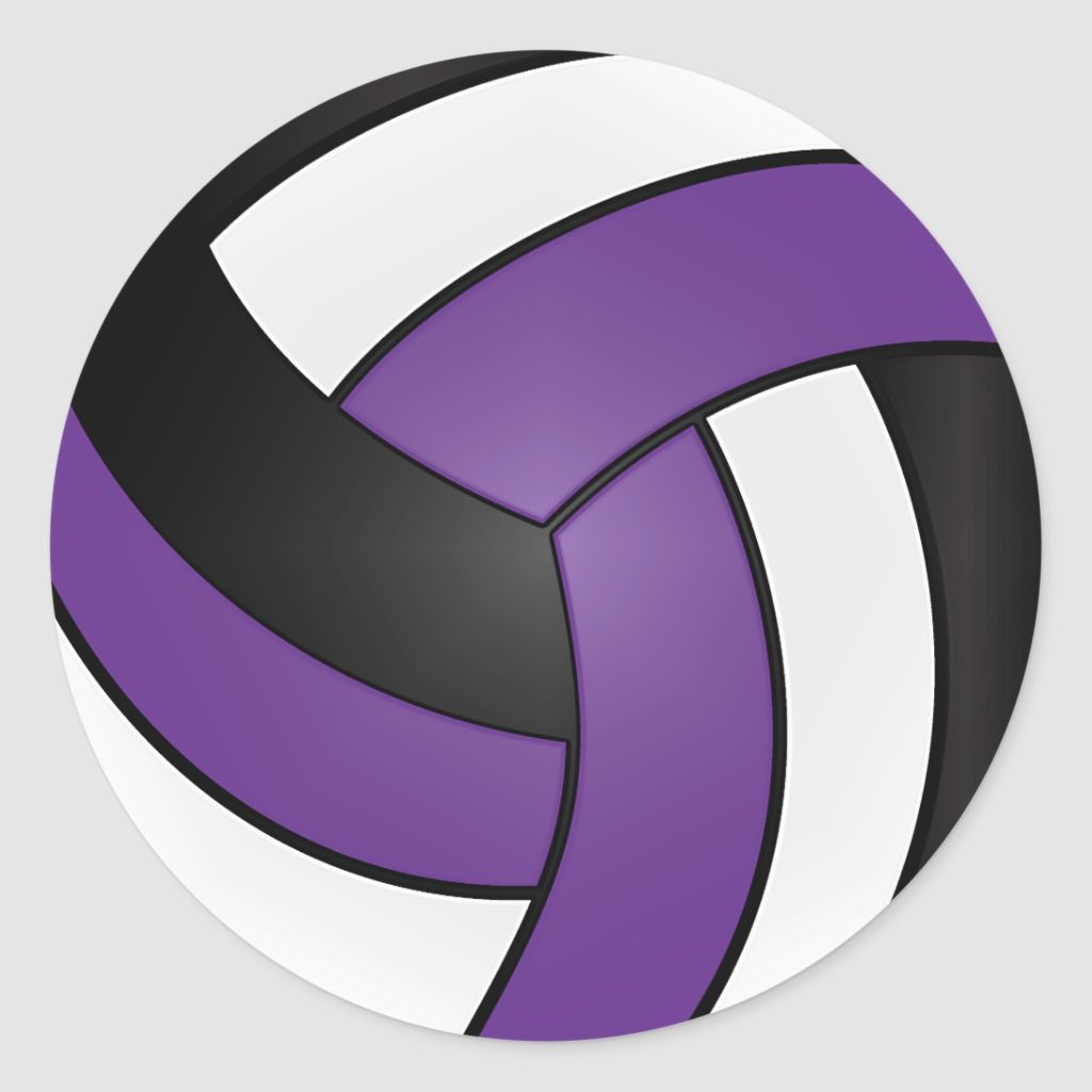 Purple White And Black Volleyball Classic Round Sticker Zazzle Com Volleyball Round Stickers Purple