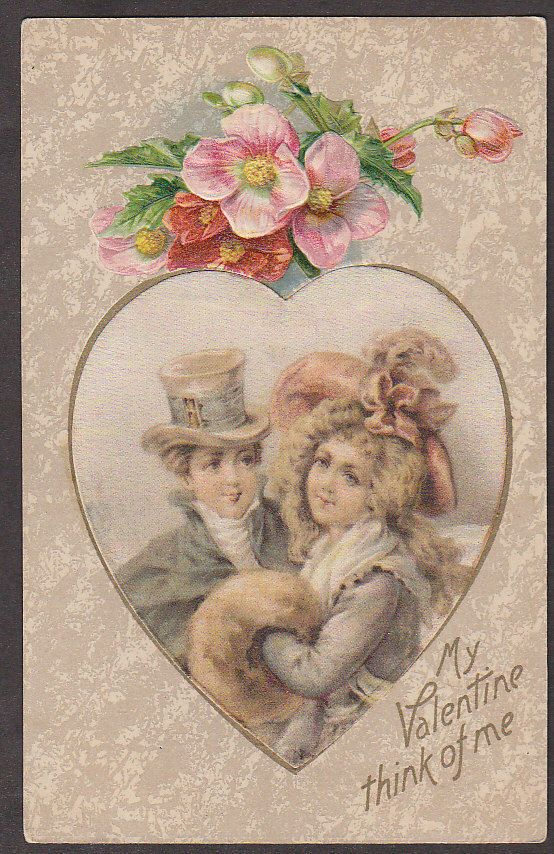 X1848 Winsch Valentines Day postcard, Silk Patch, Lovers, Victorian, Unused