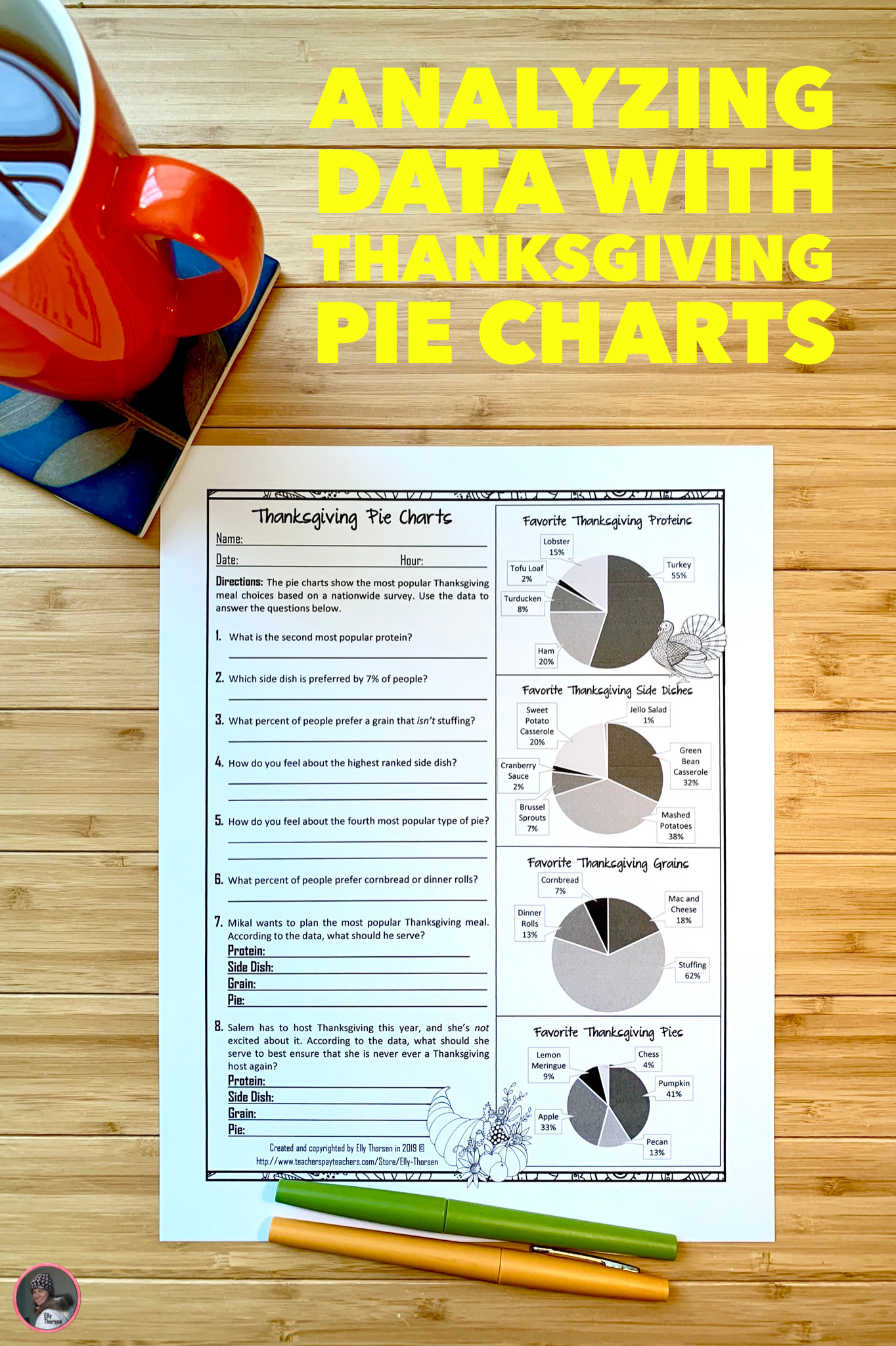 Yzing Data With Thanksgiving Pie Charts For Middle