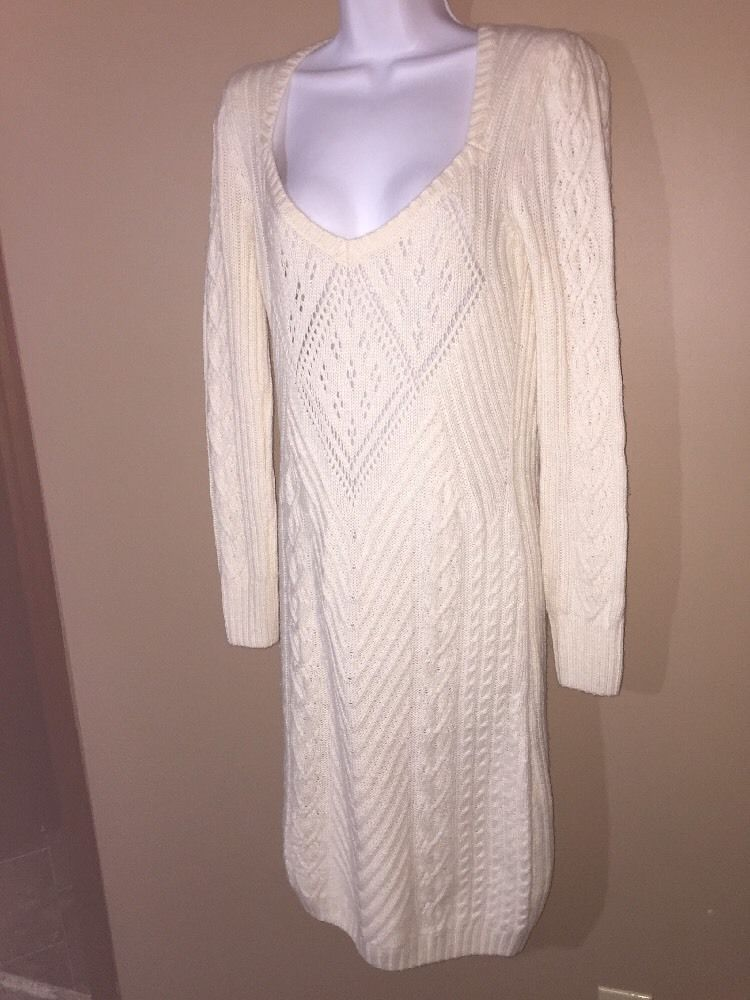 Dress Moda Victoria's Secret Ivory ribbed sweaterdress sweater M L Cable Spring #ModaInternational #SweaterDress #Casual