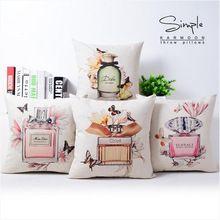 Moda capa de almofada sem garrafa batom perfume interior sofá casa fronha decorativo(China (Mainland))