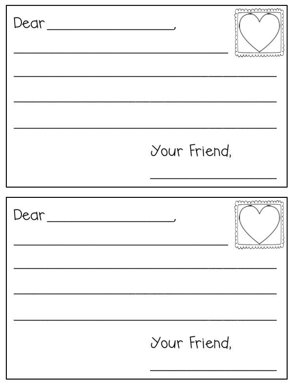 Cute and FREE letter template for Valentine\u0027s Day in Kindergarten