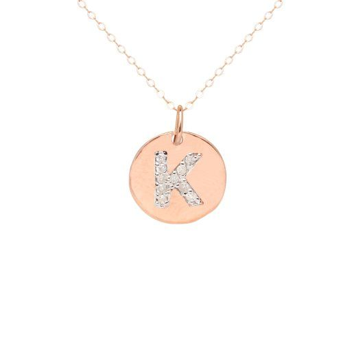 Duragold 14k rose gold disc diamond initial k pendant necklace duragold 14k rose gold disc diamond initial k pendant necklace 18 amazon mozeypictures Image collections