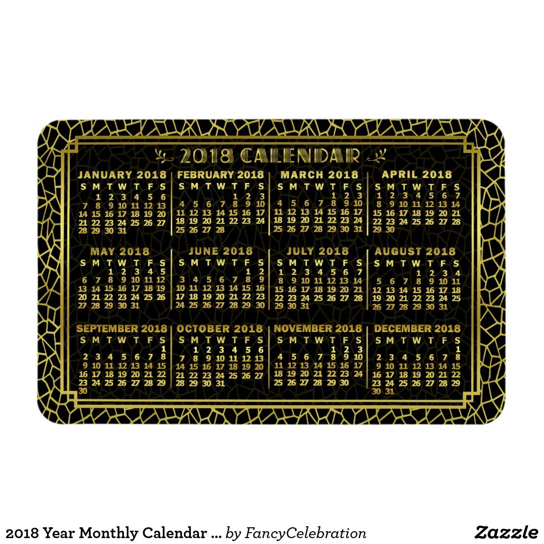 2018 Year Monthly Calendar Art Deco Gold Black Magnet