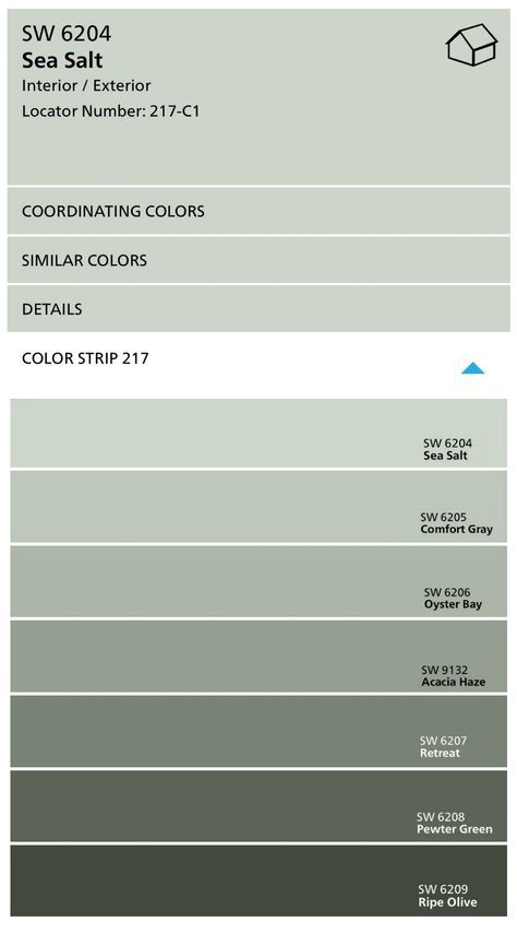 Komfort Grau · Farbe Marken · Sherwin Williams Color Strip With Sea Salt  And Comfort Gray