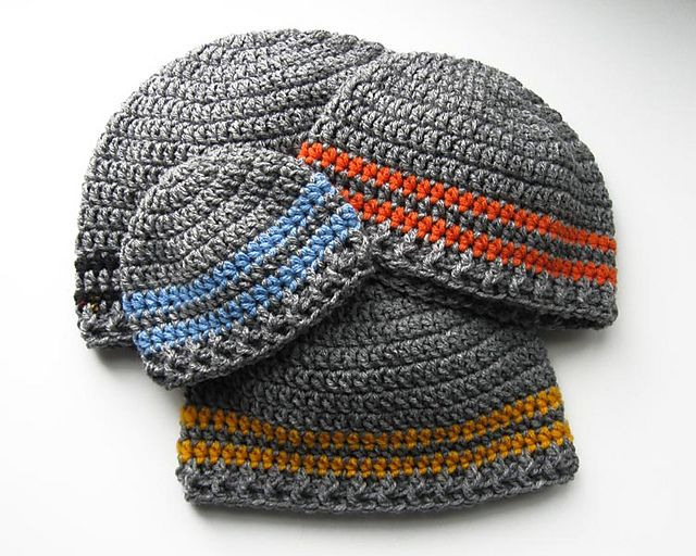 Two Stripe Beanie pattern by Katy Petersen | Gorros, Ganchillo ...