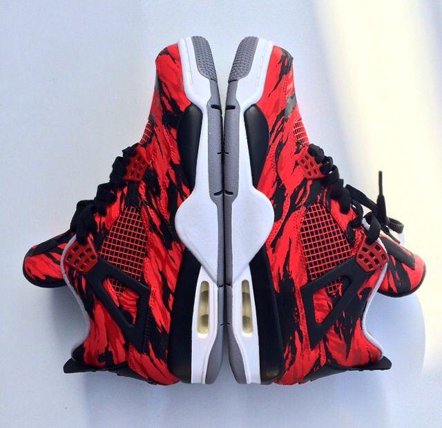 new style 9df05 89078 Custom Jordan 4s Red Tiger Camo Toros