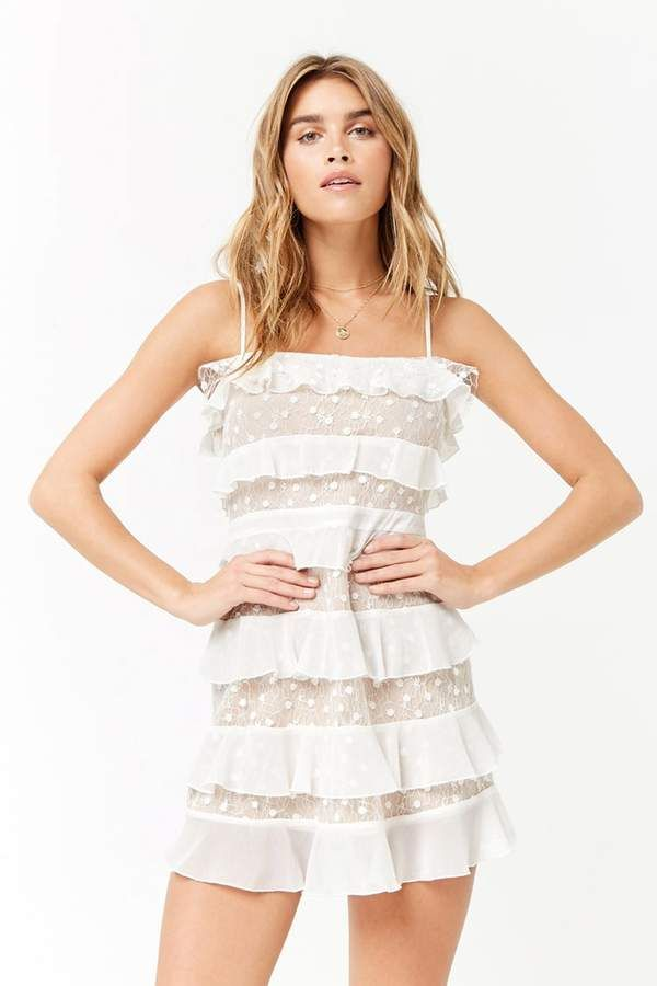 cb9056f9a2163 FOREVER 21 Embroidered Mesh Flounce Dress | Forever 21 | Dresses ...