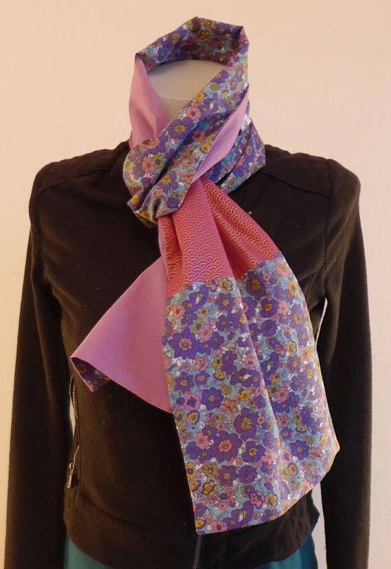 Foulard Etole Echarpe mauve à fleurs violet moutarde et tissu japonais   Création  Mode Japon   e8572f87a7c