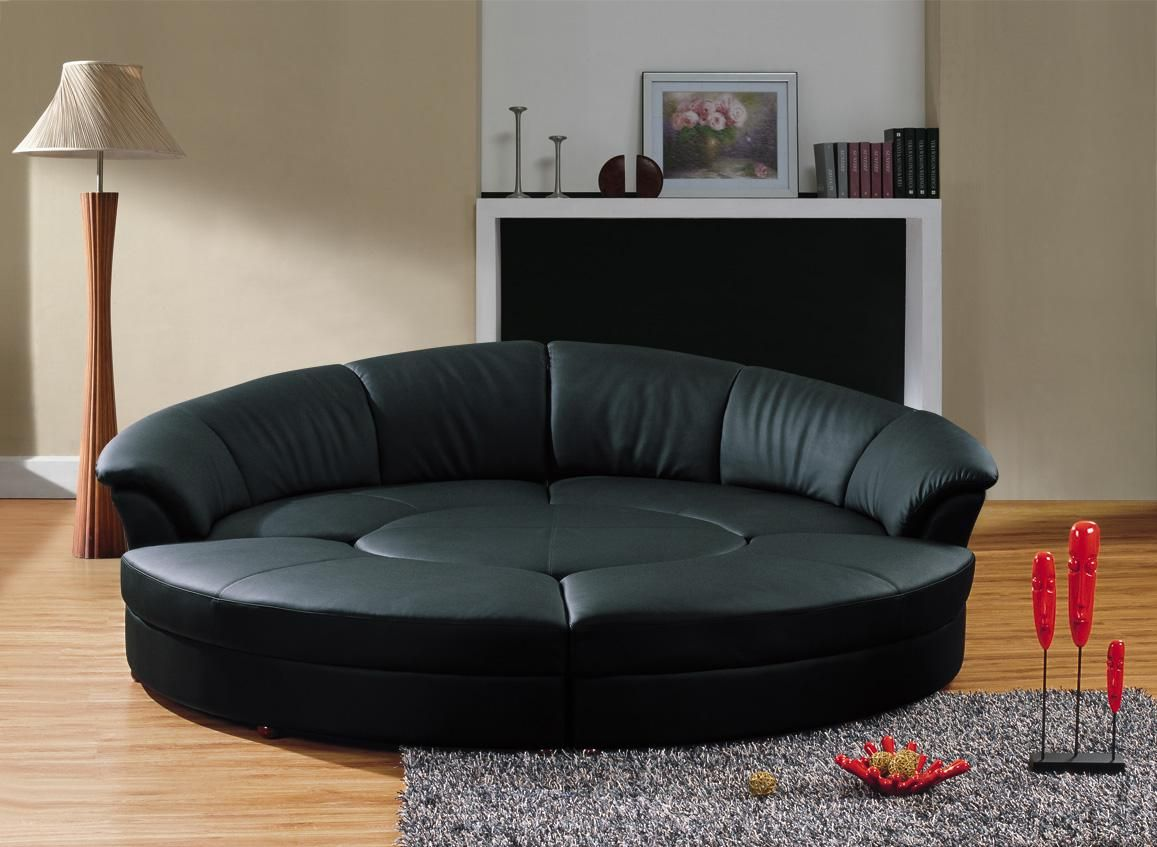 - Cozy Black Leather Sofas For Elegant Living Room : Beautiful Round
