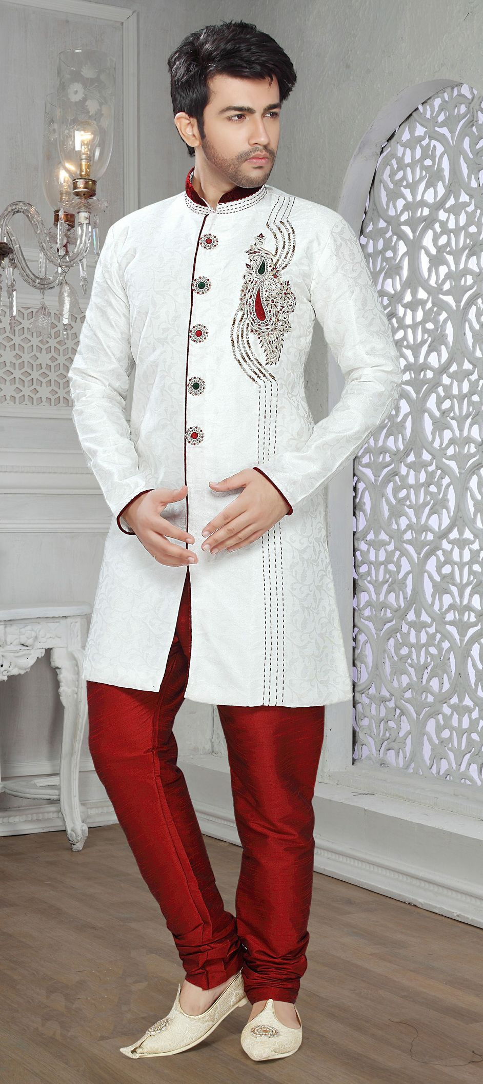 14688: Red and Maroon, White and Off White color family IndoWestern ...