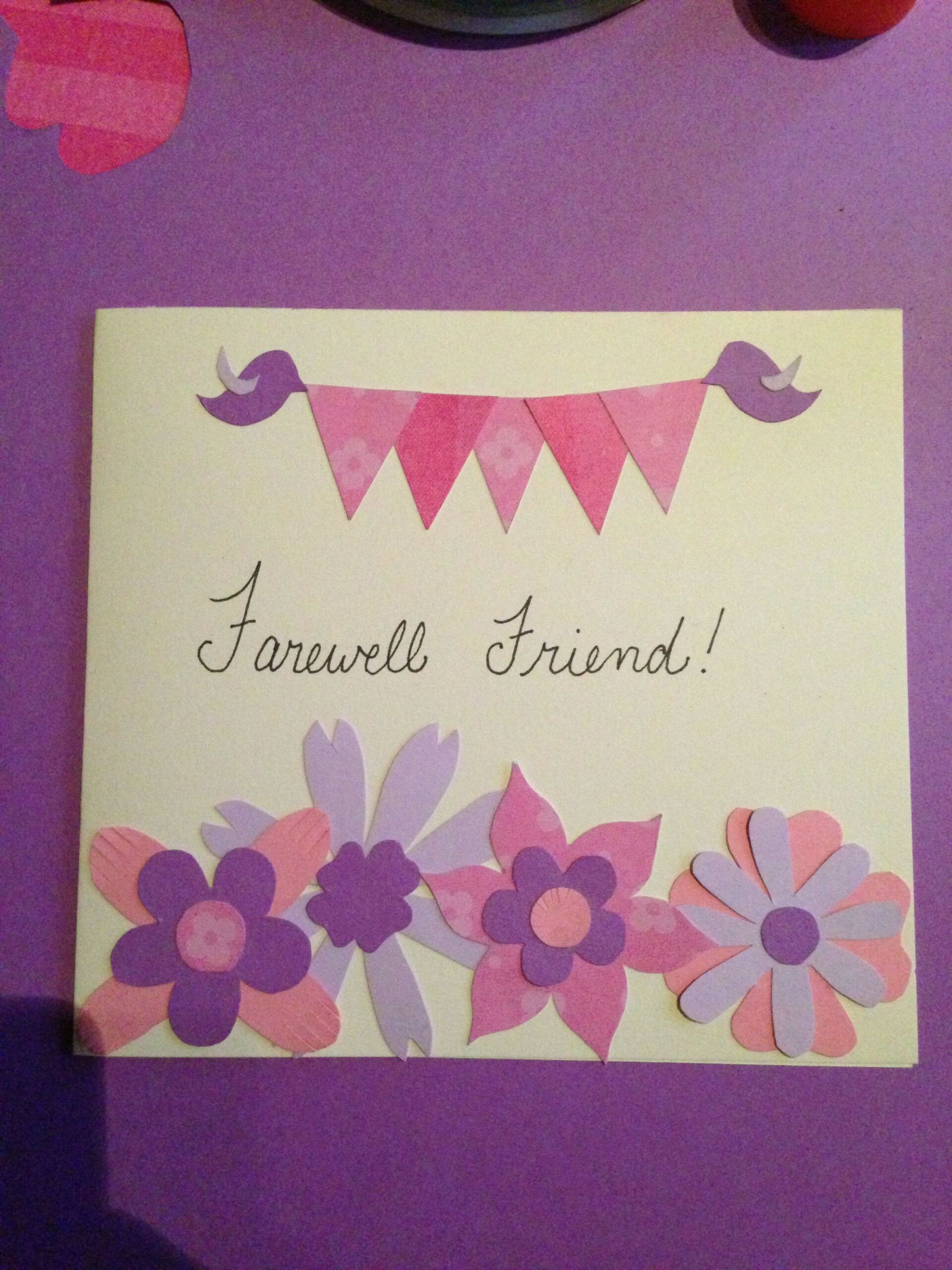 Diy Farewell Card Made From Construction Paper Card Making Card Design Handmade Paper Crafts Cards Card Craft