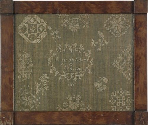 re: Ackworth Pattern Samplers : Chester County, Pennsylvania Westtown school sampler, dated 1813, wrought by Elizabeth Adams, 13'' x 16''. Pook & Pook Jan 13, 2012