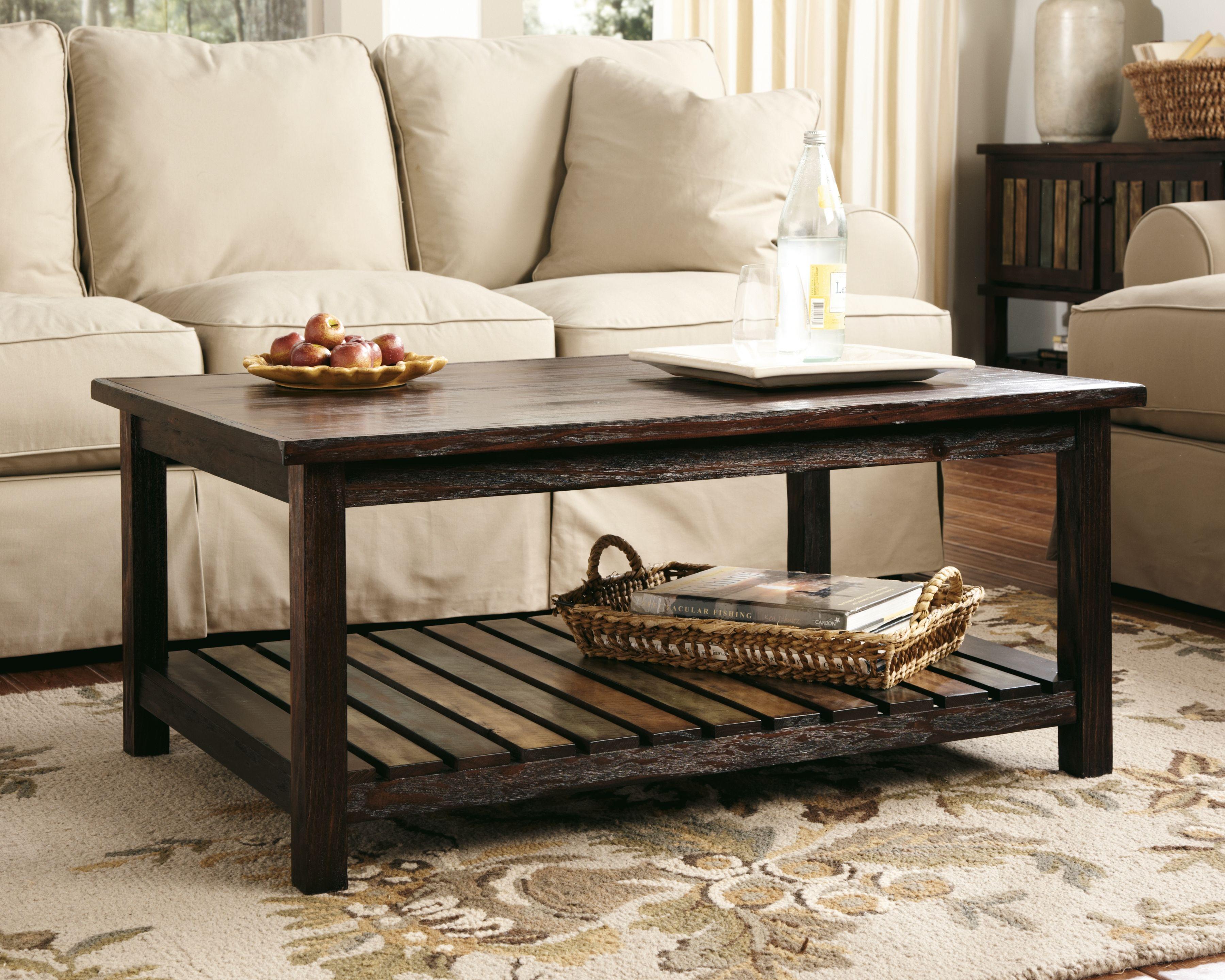 Mestler coffee table rustic brown