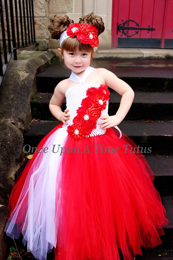 078acaae6f5 Red And White Flower Girl Tutu Dress - Holiday Photo Prop