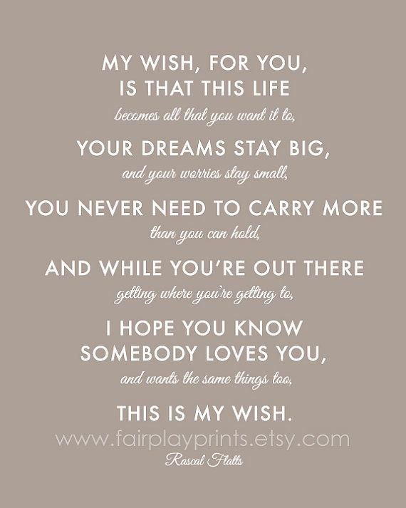 My Wish For You Nursery Print Song Inspirational Quote Baby Gift Wedding