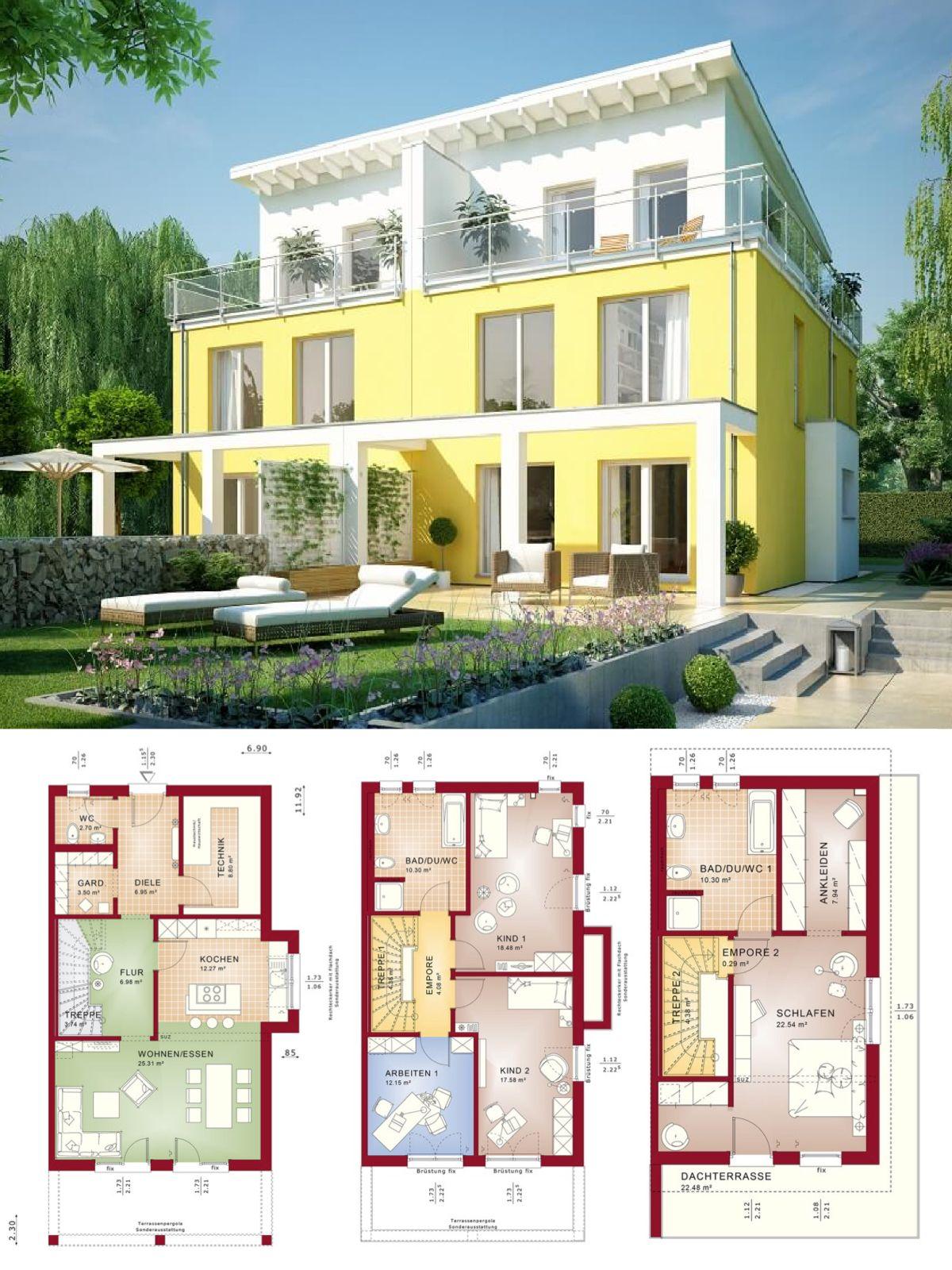Modernes Doppelhaus mit Pultdach Architektur & Pergola