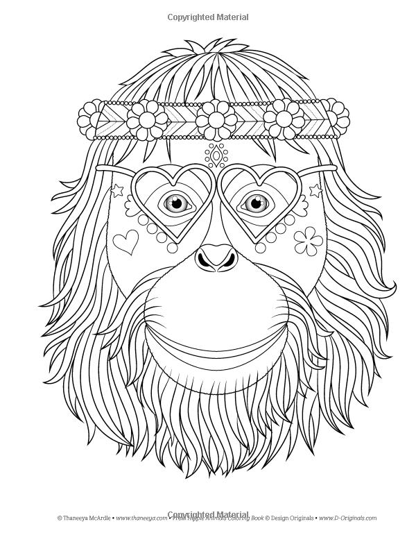 Amazon Hippie Animales Coloring Book Colorante Es Diversion 9781497202085